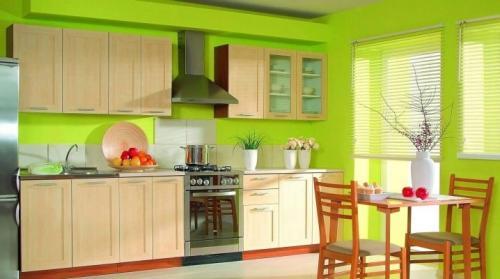 Обои на кухню зеленые. Зеленые обои на кухне